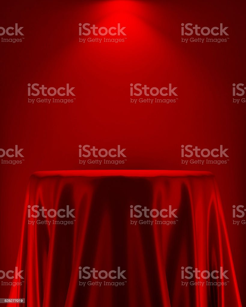 presentation pedestal covered red white silk cloth stock photo