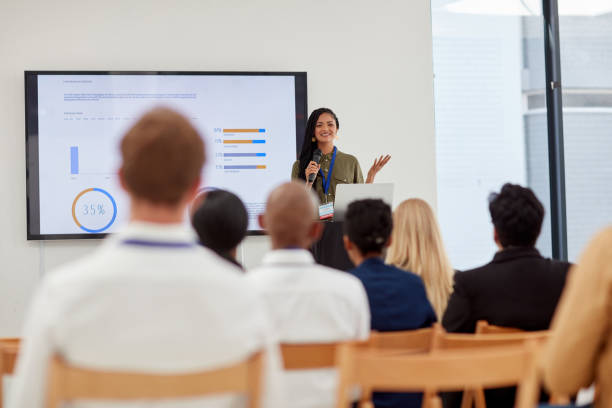 Presentation skills that keep the attendees engaged stock photo