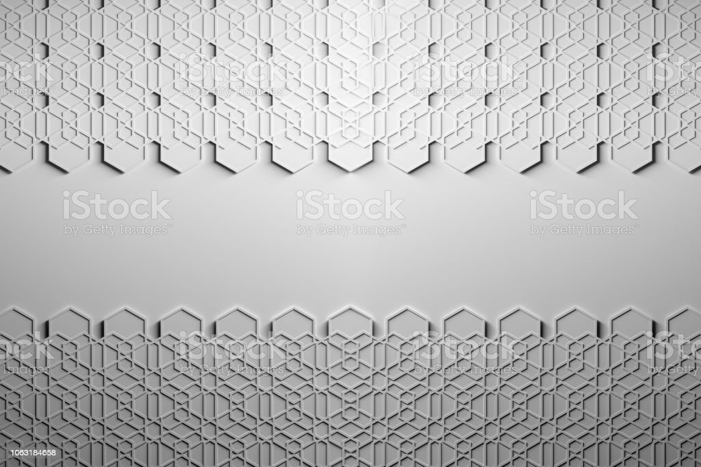 Presentation template with hexagons pattern and blank space stock photo