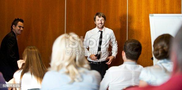 istock Presenter having a public speech 539283075