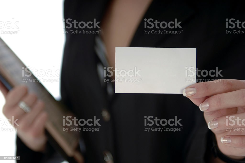 Presenting a Business Card royalty-free stock photo