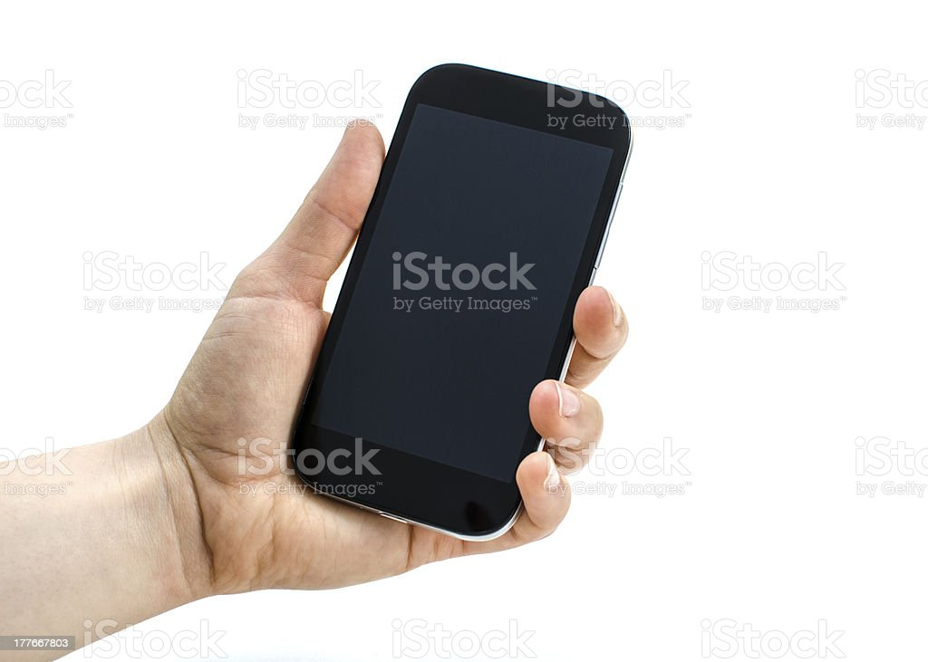 Presenting a mobile phone royalty-free stock photo