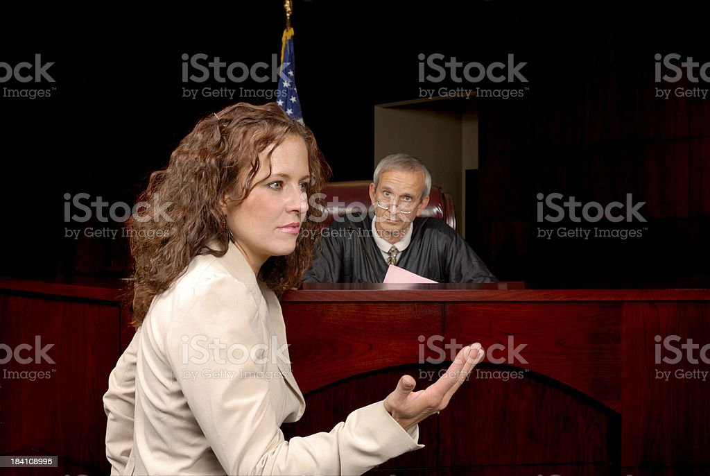Presenting Her Case To The Judge stock photo