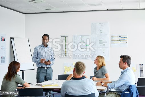 istock Presenting his ideas to the group 579749574