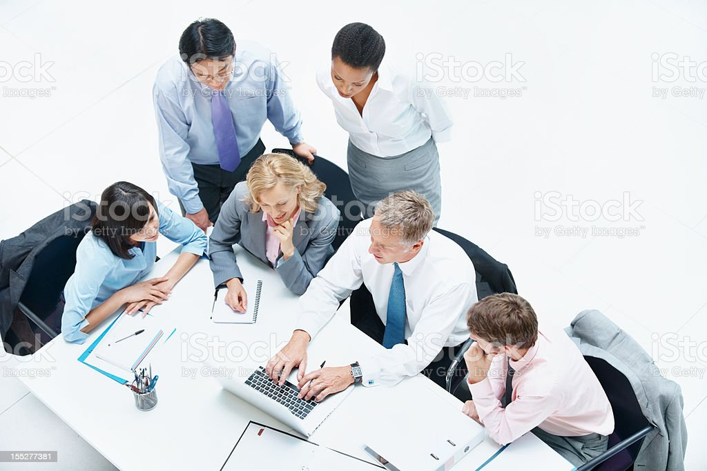 Presenting his ideas to the team royalty-free stock photo