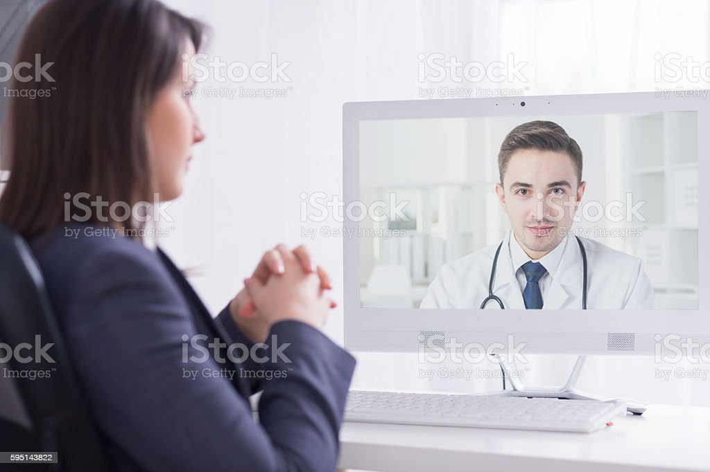 Presenting his professional experience to a medical director stock photo