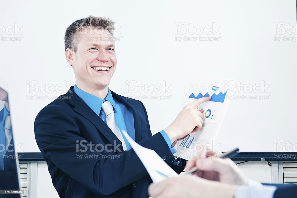 Presenting sales report royalty-free stock photo