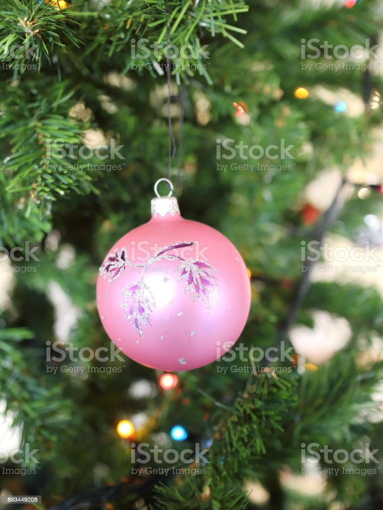 Presents For Christmas Red Pink White And Glass Balls On The Background Of A Green Christmas Tree Stock Photo Download Image Now Istock