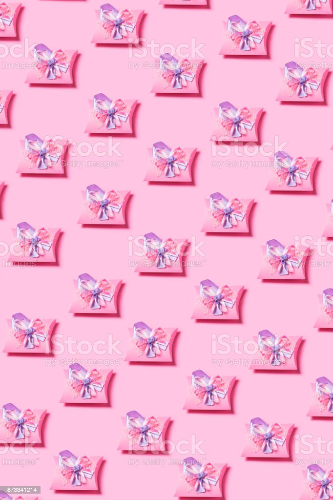 Presents on pink background