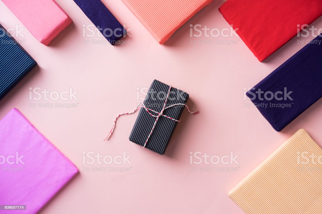 Presents on tabletop, flat lay stock photo