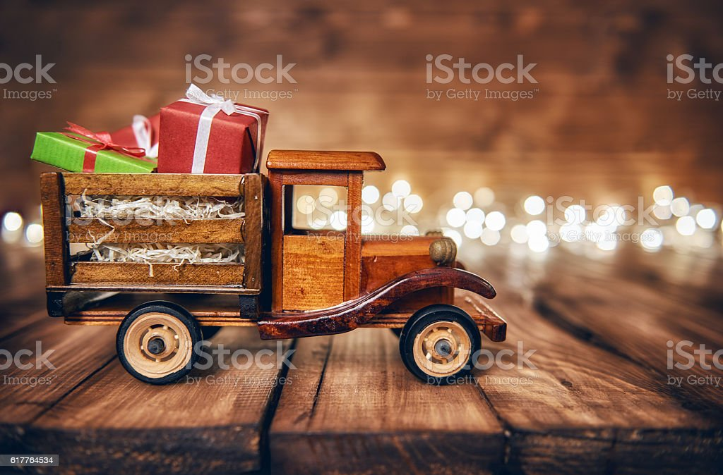 presents on toy car stock photo