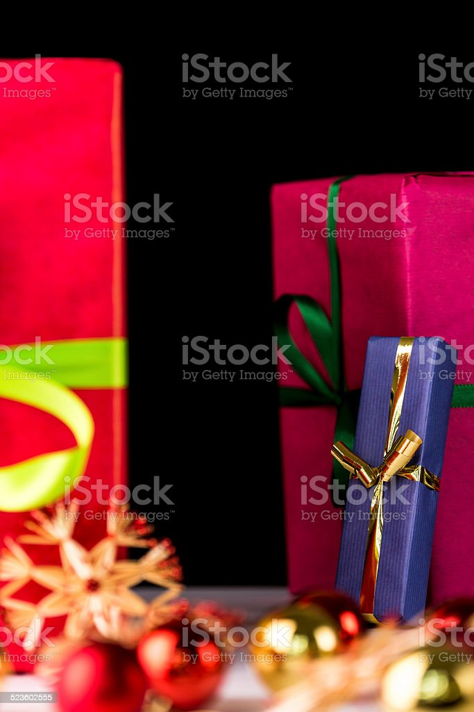 Presents, spheres and stars. stock photo