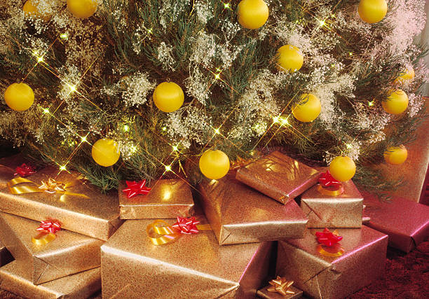 presents under the tree stock photo