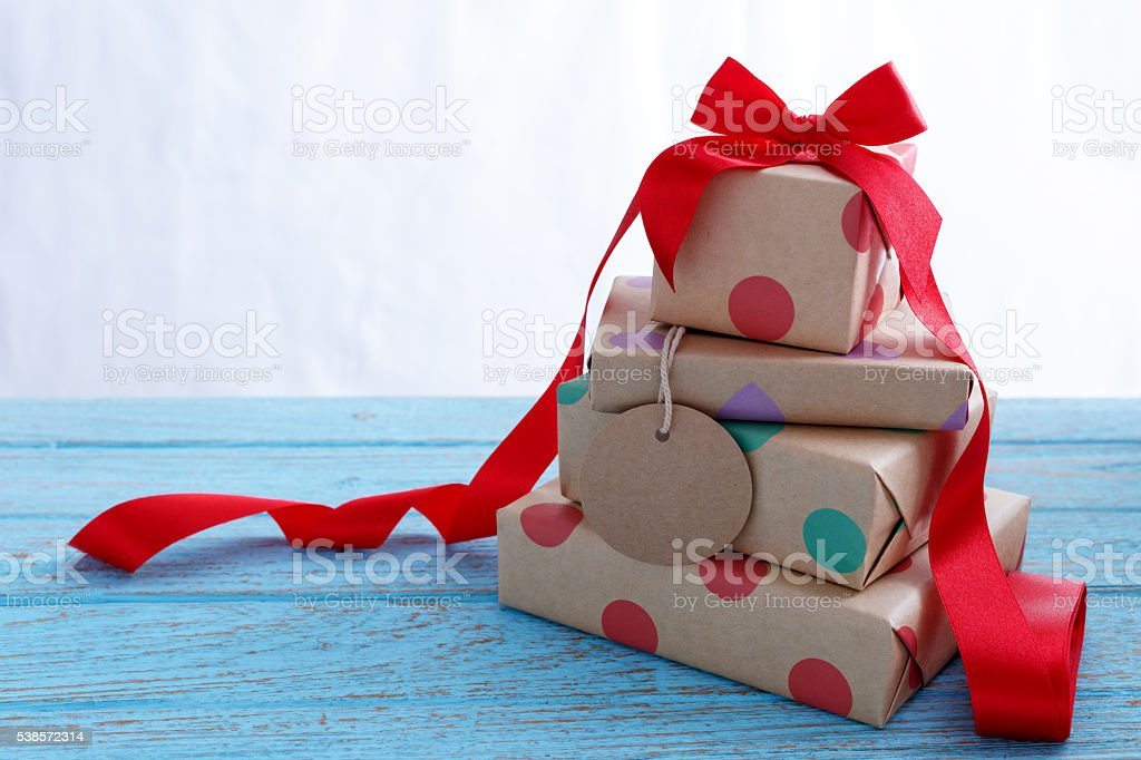 Presents with tag stock photo