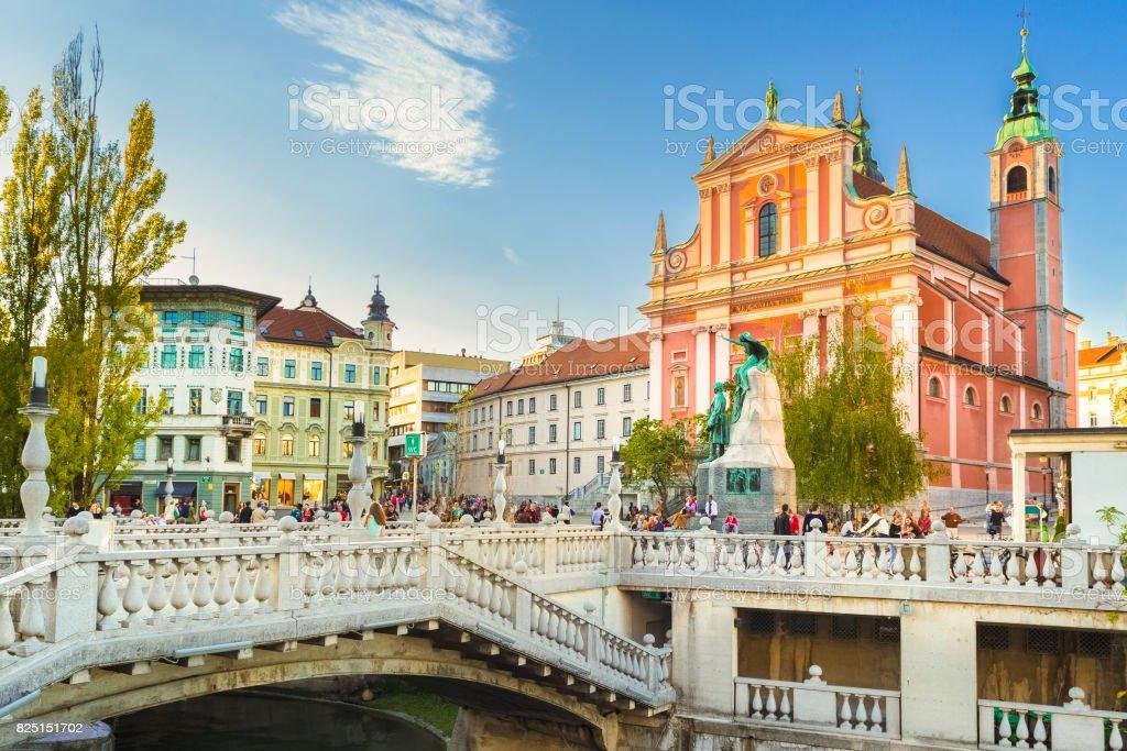 Preseren square and Franciscan Church of the Annunciation, Ljubljana, Slovenia, Europe. stock photo