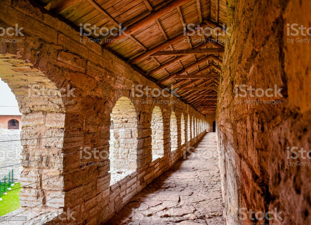Preserved buildings of the ancient fortress on the island of Nut at...