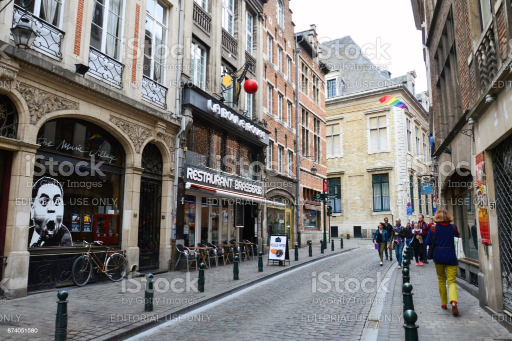 Preserved old European-style residential and commercial buildings on streets of Brussels City, Belgium stock photo