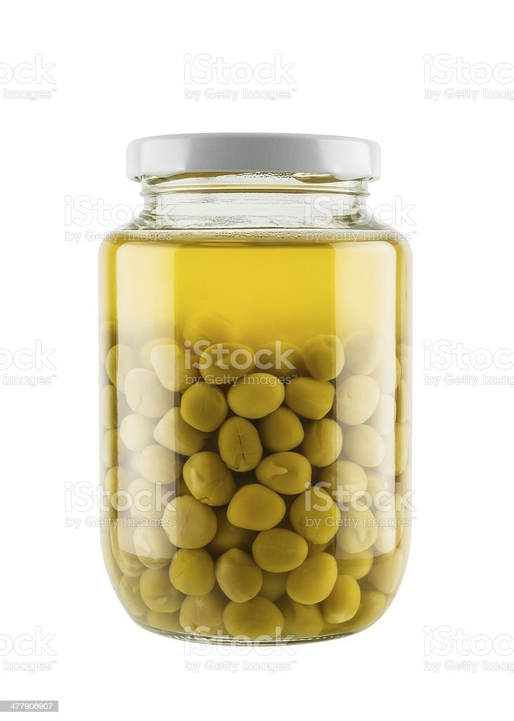 Preserved peas in glass jar royalty-free stock photo