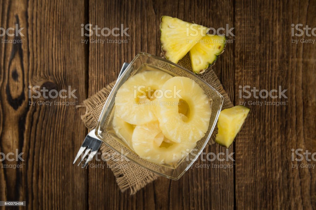 Preserved Pineapple Rings close-up shot, selective focus stock photo