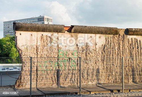 Berlin, Germany - June 12, 2012: Graffiti on a damaged original section of the Berlin Wall on Niederkirchnerstraße. The wall was used between 1961 and 1989 to separate East and West Berlin.