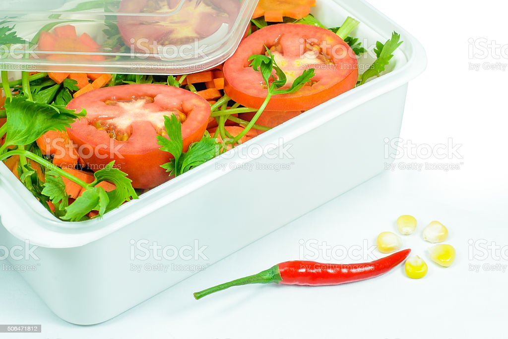 Preserved vegetables in plastic box stock photo