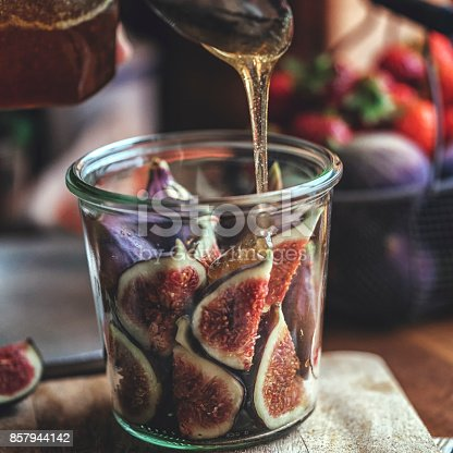 Preserving Figs with Honey in Jars