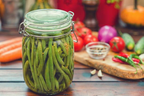 Erhaltung der grüne Bohnen im Glas – Foto