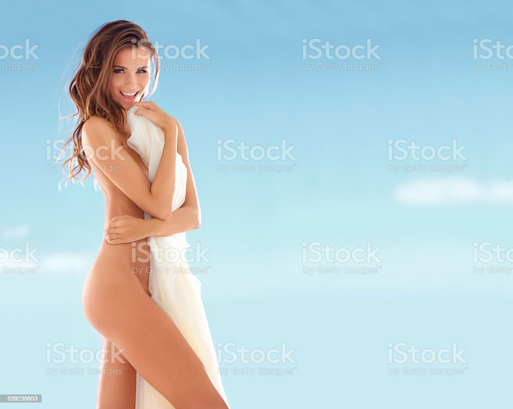 Preserving her modesty royalty-free stock photo