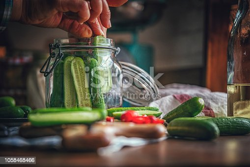 Preserving Organic Cucumbers in Jars
