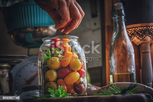 Preserving Organic Mixed Colored Cherry Tomatoes in Jars