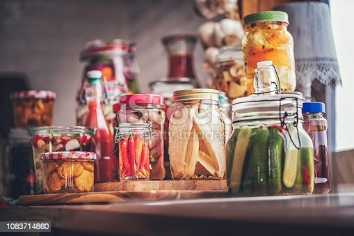 Preserving organic vegetables in jars like carrots, cucumbers, tomatoes, mushrooms, red onions and bok choy.