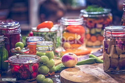 Preserving organic vegetables in jars like grean beans, garlic, carrots, cucumbers, tomatoes, chilis, paprika and radishes.