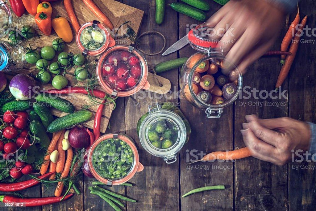 Preserving Organic Vegetables in Jars royalty-free stock photo