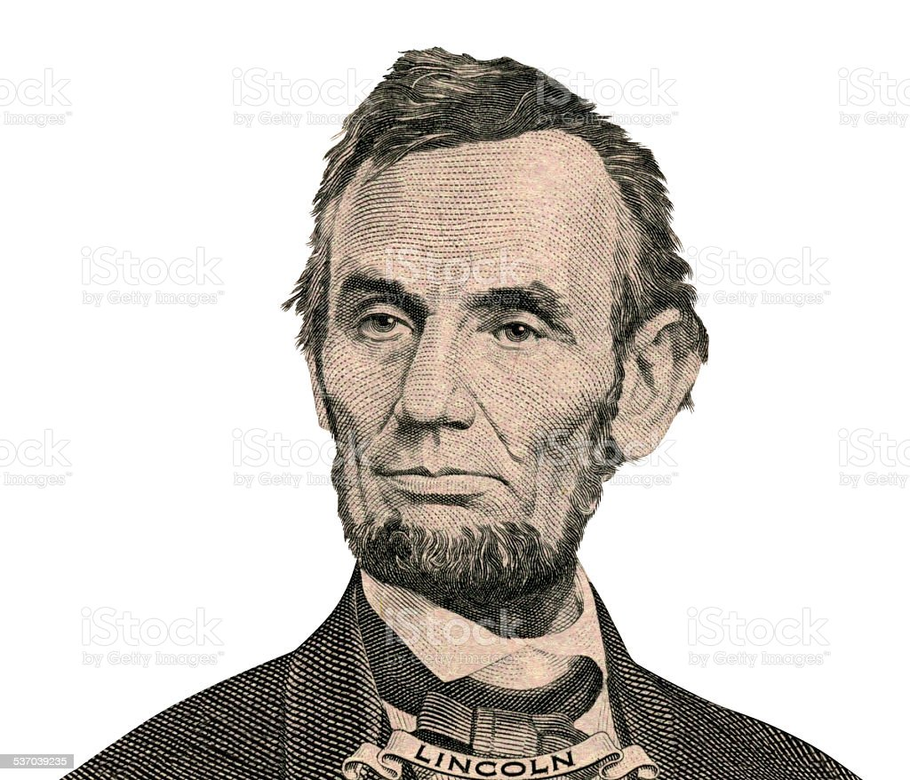 President Abraham Lincoln portrait (Clipping path) stock photo