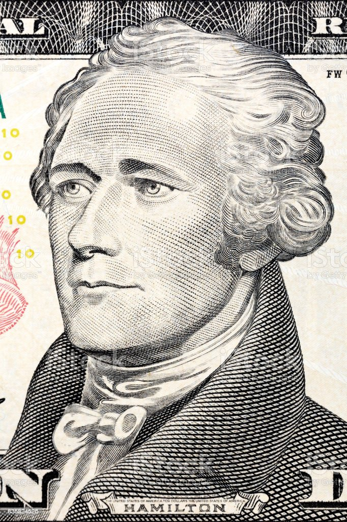 U.S. President Alexander Hamilton on the ten dollar bill stock photo
