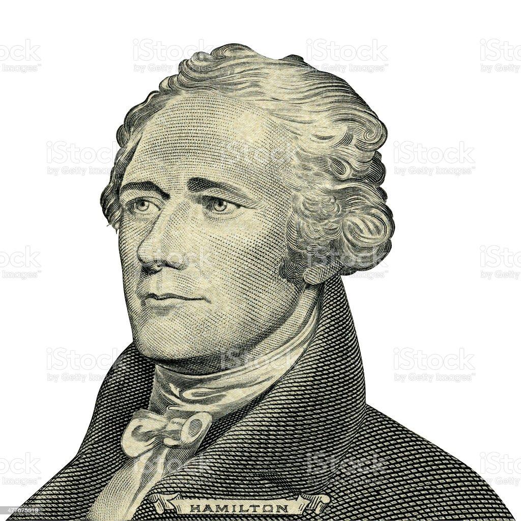 President Alexander Hamilton portrait (Clipping path) stock photo
