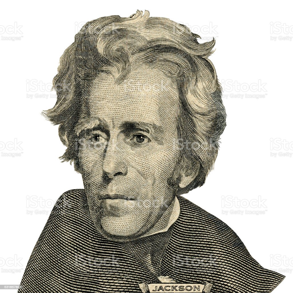President Andrew Jackson portrait. (Clipping path) stock photo