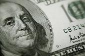istock President Benjamin Franklin on 100 US dollar bill 184095763