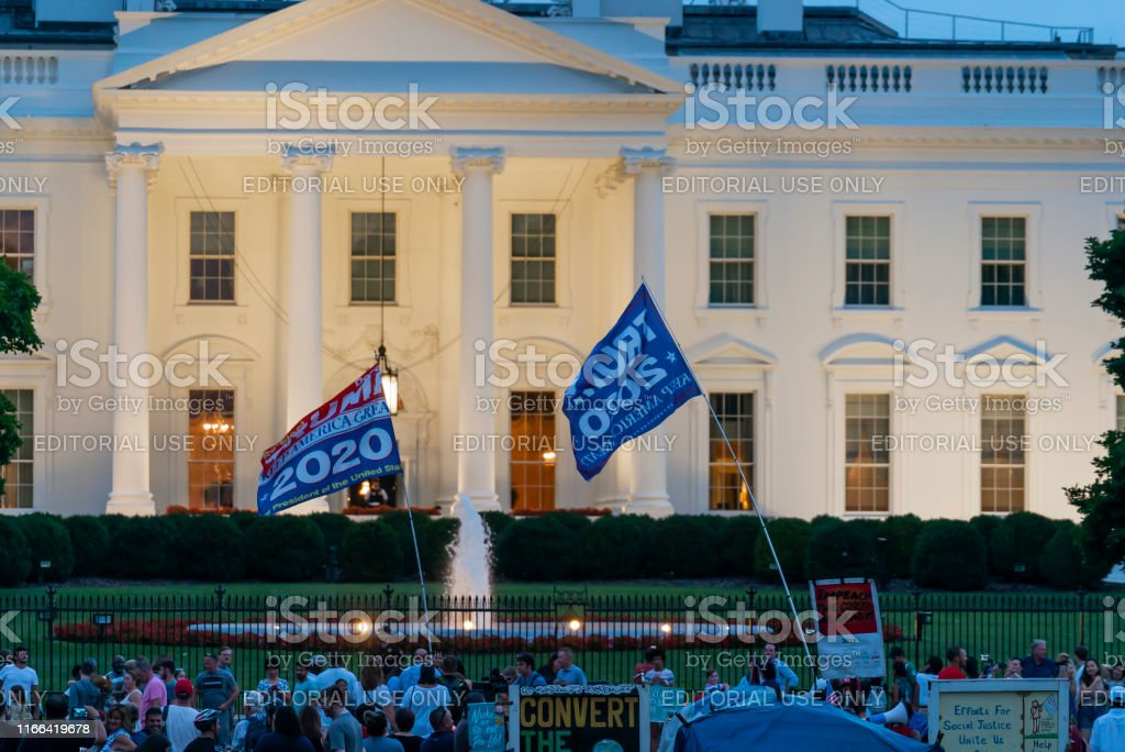 President Donald Trump Supporters And Protesters At White House Stock Photo Download Image Now Istock