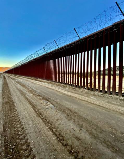 president donald trump's border wall driving near anza-borrego desert state park, ocotillo, ca - usa samuel howell stock pictures, royalty-free photos & images