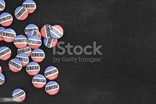 Large group of 2020 US presidential election pins on rustic black wood background with copy space.
