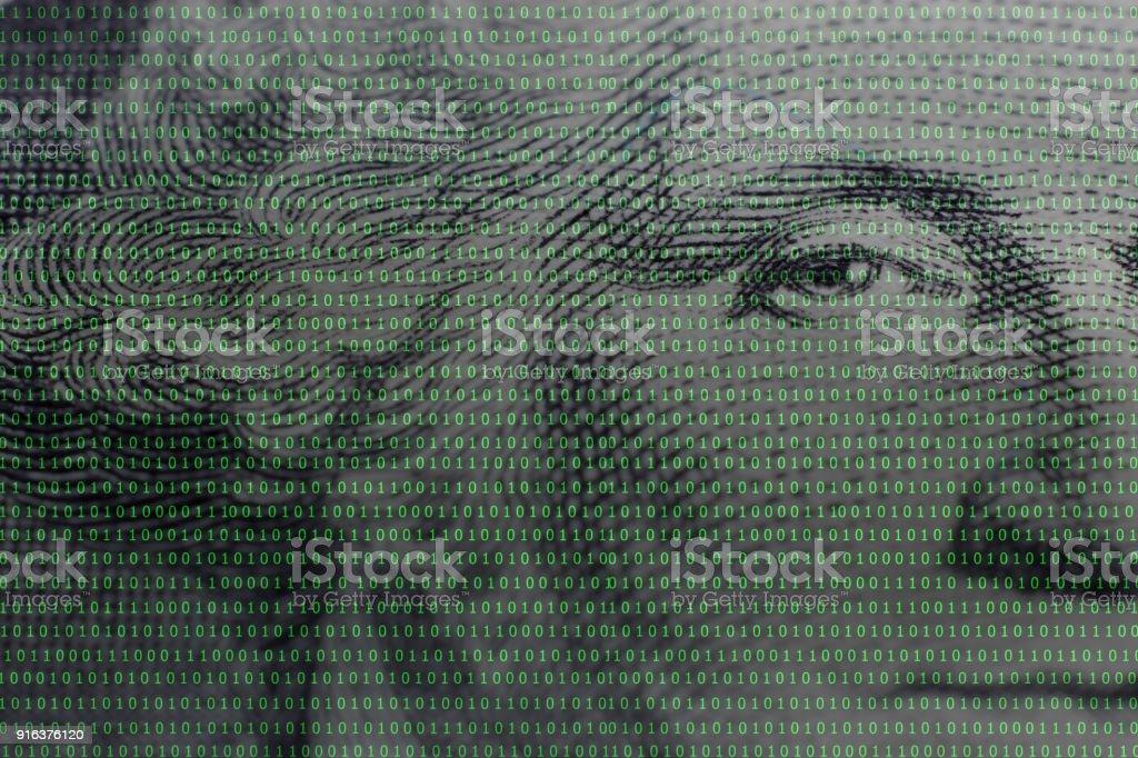 president George Washington face portrait on the USA one dollar banknote among binary code stock photo