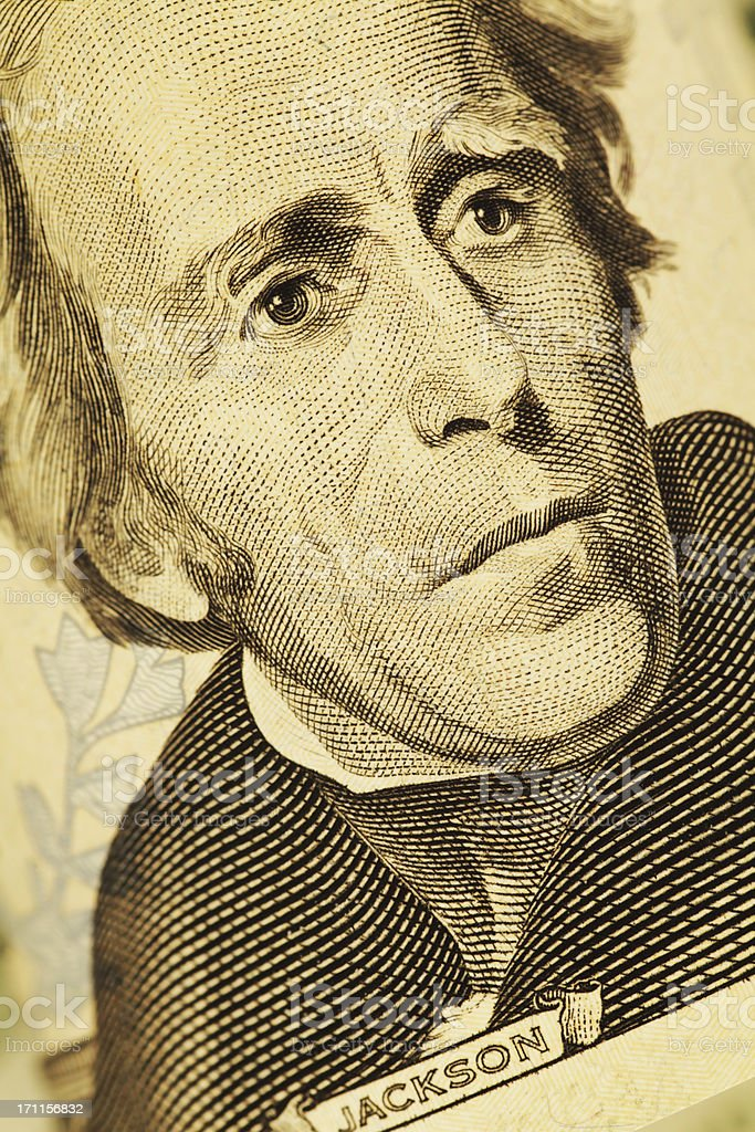President Jackson on US $20 Bill stock photo