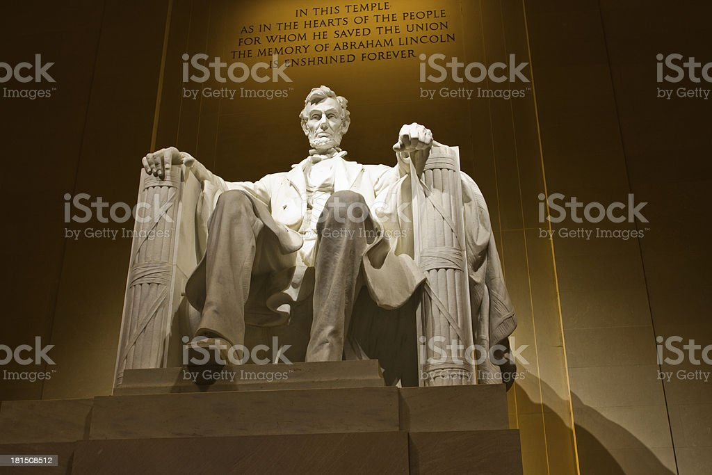 President Lincoln Memorial in Washington DC at night royalty-free stock photo