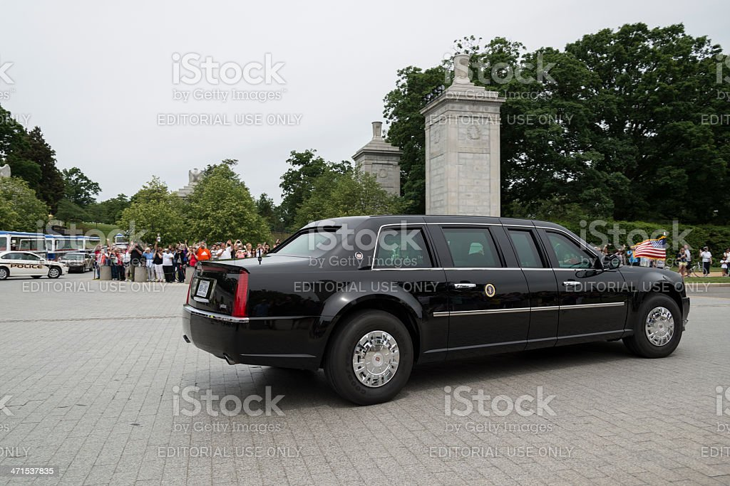 President Obama Leaves Arlington National Cemetery on Memorial Day stock photo