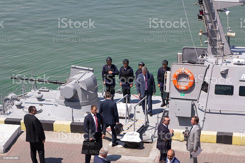 Odesa, Ukraine - July 03, 2016: President Petro Poroshenko examines stock photo