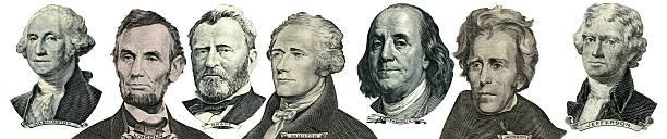 president portraits from money - 2015 bildbanksfoton och bilder