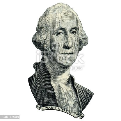 Portrait of first USA president George Washington as he looks on one dollar bill obverse. Photo at an angle of 15 degrees.