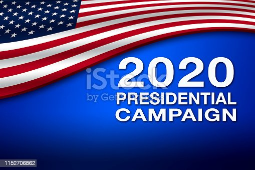 507831160 istock photo 2020 Presidential Campaign banner with USA flag 1152706862