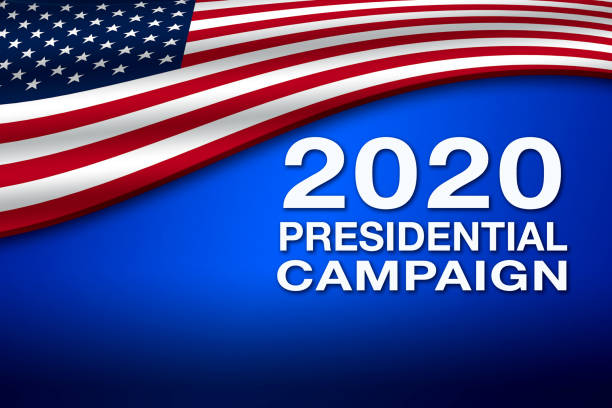 2020 Presidential Campaign banner with USA flag stock photo